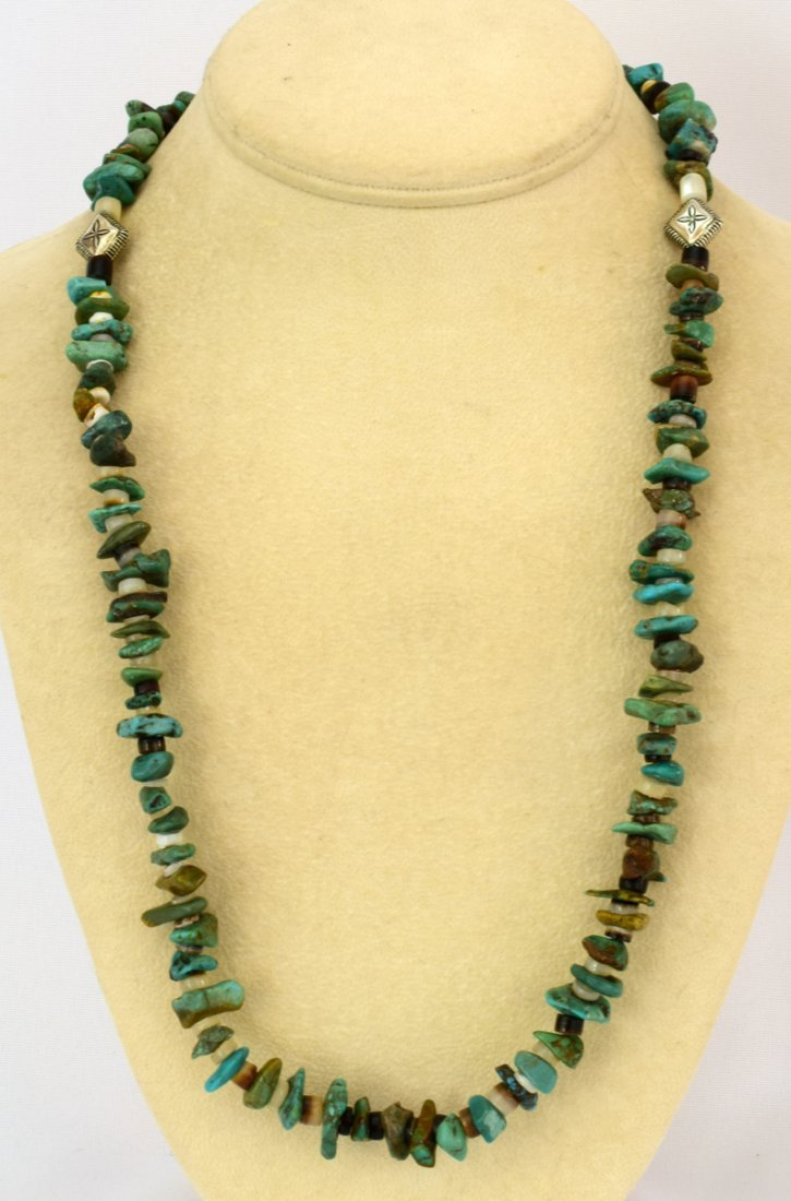 Navajo Natural Turquoise Nugget Necklace - 4
