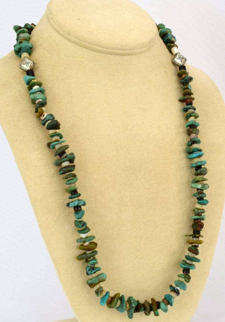 Navajo Natural Turquoise Nugget Necklace - 5