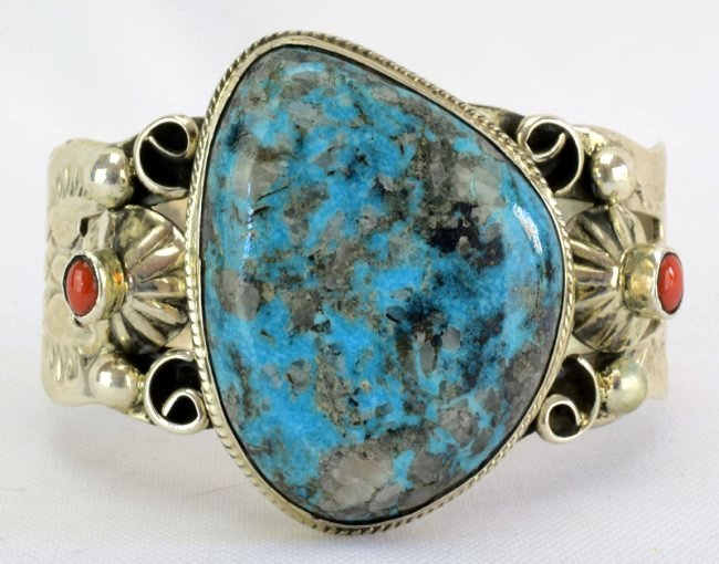 Navajo Turquoise Cuff Bracelet w/Coral accents