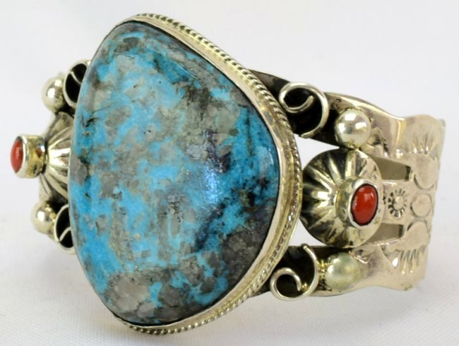 Navajo Turquoise Cuff Bracelet w/Coral accents - 2