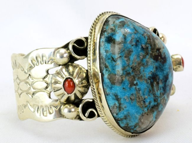Navajo Turquoise Cuff Bracelet w/Coral accents - 3
