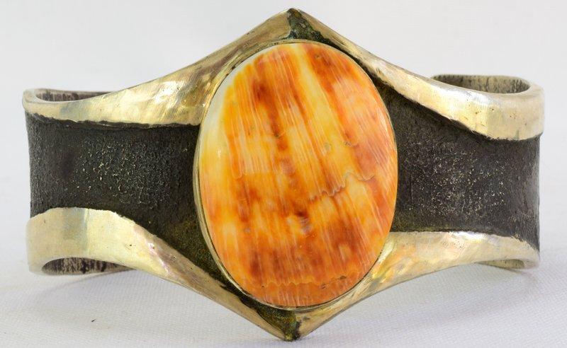 Navajo Sterling Silver Old Pawn Spiny Oyster Bracelet