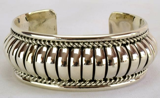 Native American Sterling Silver Ribbed Cuff Bracelet
