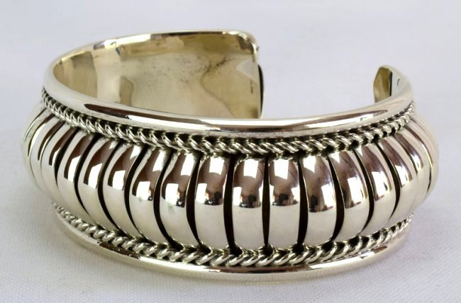 Native American Sterling Silver Ribbed Cuff Bracelet - 3