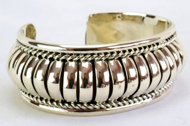 Native American Sterling Silver Ribbed Cuff Bracelet - 5