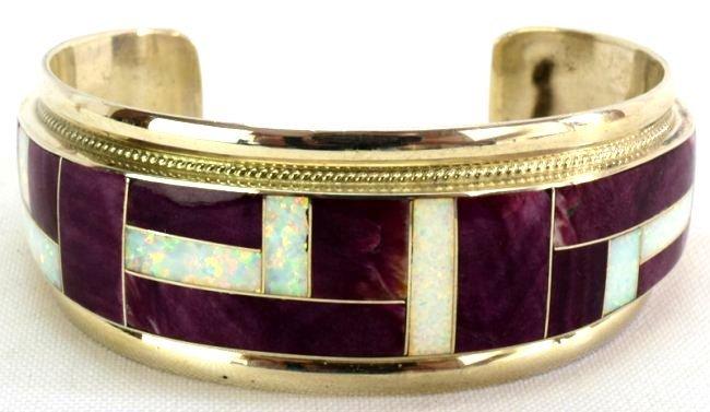 Navajo Sterling Silver Inlay Spiny Oyster Bracelet
