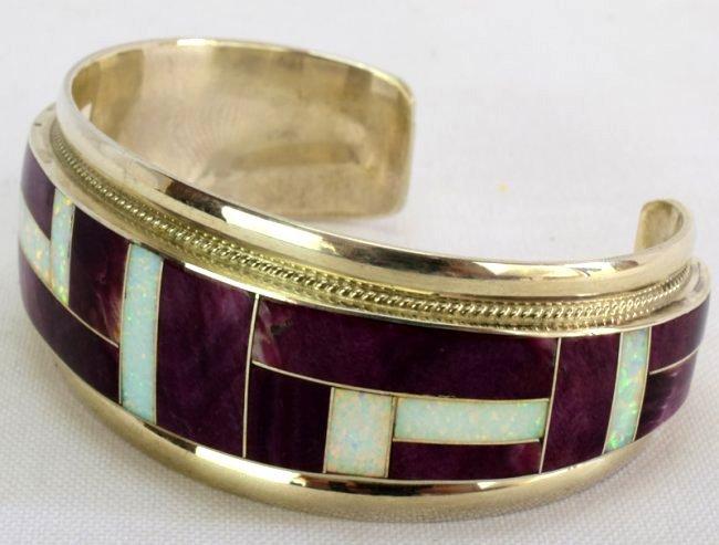 Navajo Sterling Silver Inlay Spiny Oyster Bracelet - 2