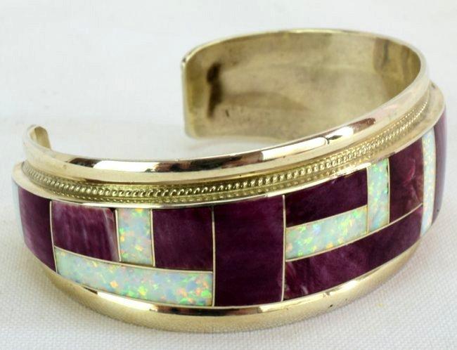 Navajo Sterling Silver Inlay Spiny Oyster Bracelet - 3