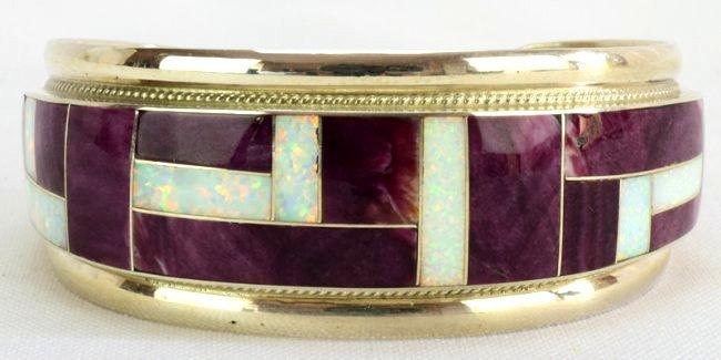 Navajo Sterling Silver Inlay Spiny Oyster Bracelet - 4
