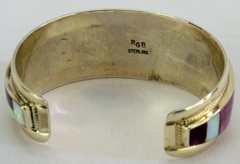 Navajo Sterling Silver Inlay Spiny Oyster Bracelet - 5