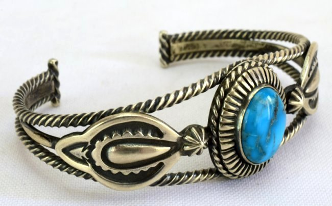 Native American Sterling Single Stone Turquoise Bracele - 2