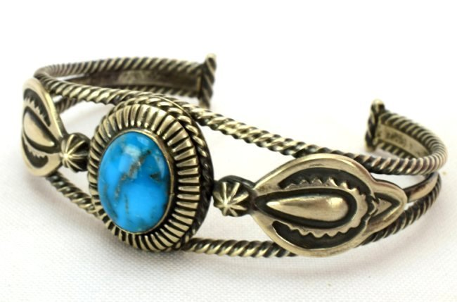 Native American Sterling Single Stone Turquoise Bracele - 3