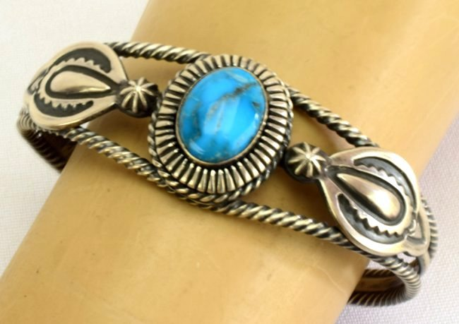 Native American Sterling Single Stone Turquoise Bracele - 4