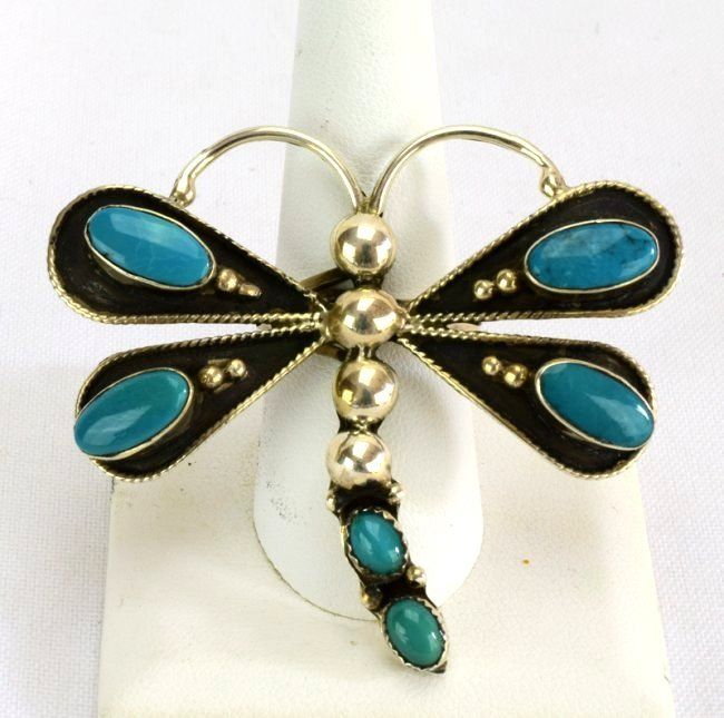 Navajo Sterling Silver Turquoise Dragonfly Ring