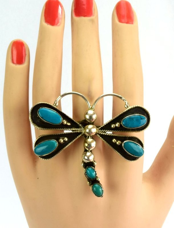 Navajo Sterling Silver Turquoise Dragonfly Ring - 3