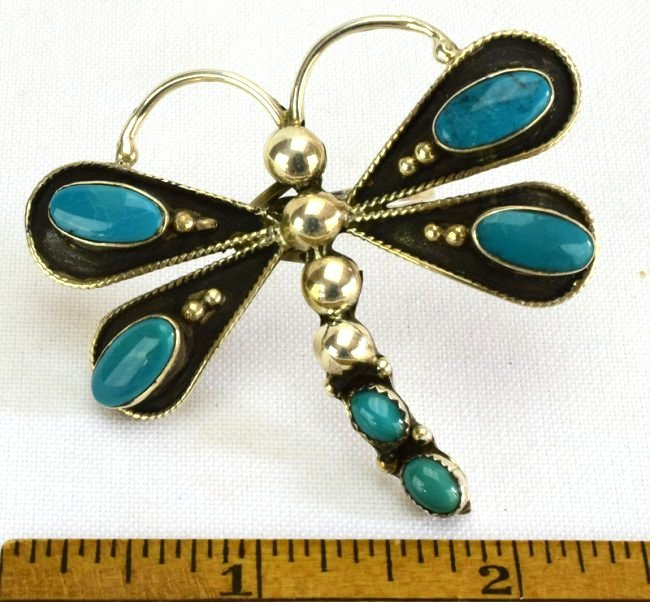 Navajo Sterling Silver Turquoise Dragonfly Ring - 5