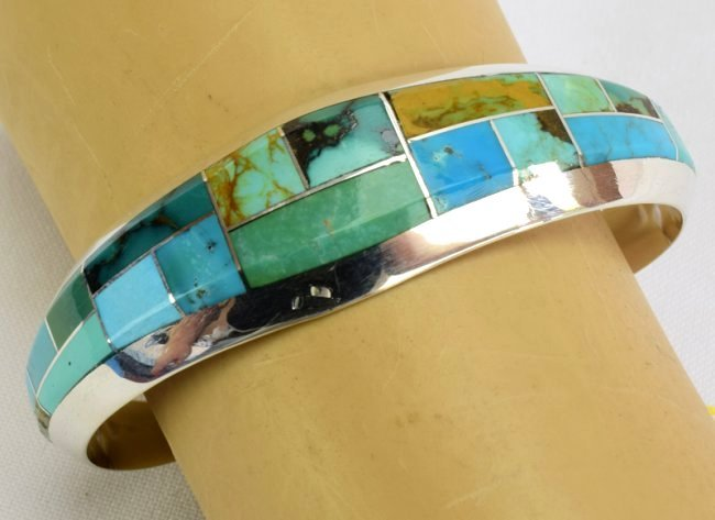 Native American Sterling Turquoise  Inlay Bracelet