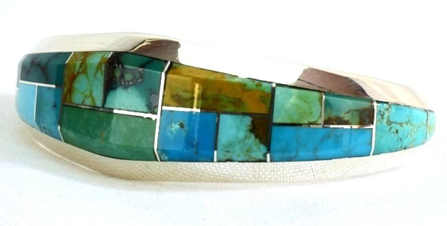 Native American Sterling Turquoise  Inlay Bracelet - 2