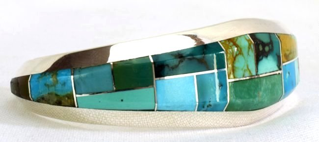 Native American Sterling Turquoise  Inlay Bracelet - 3