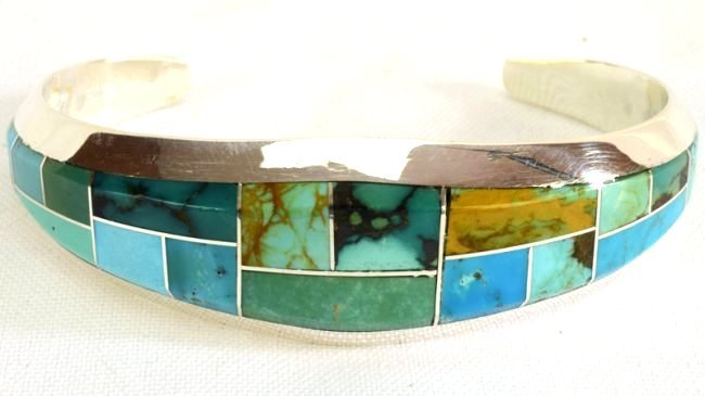 Native American Sterling Turquoise  Inlay Bracelet - 5