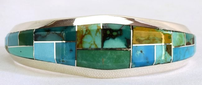 Native American Sterling Turquoise  Inlay Bracelet - 6