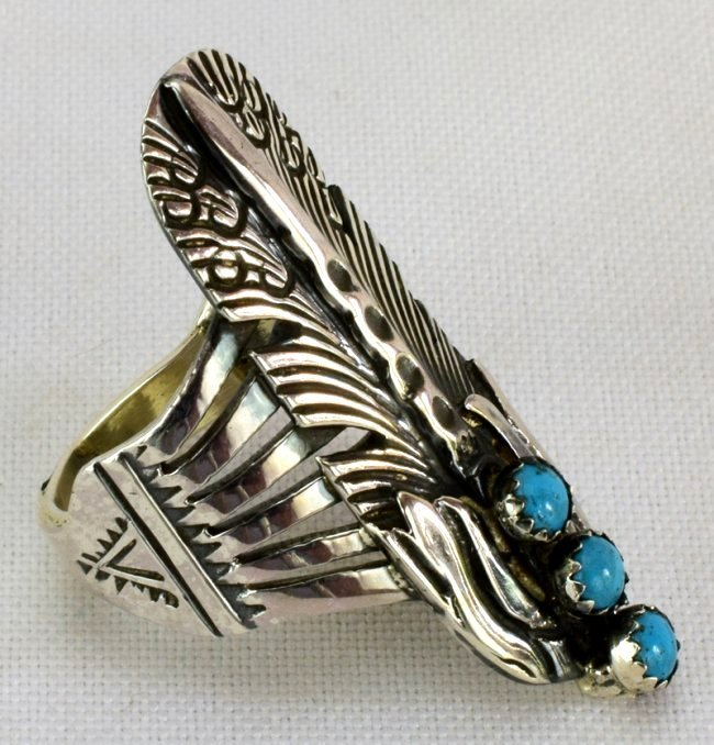 Native American Sterling Feather Ring w/Turquoise - 2