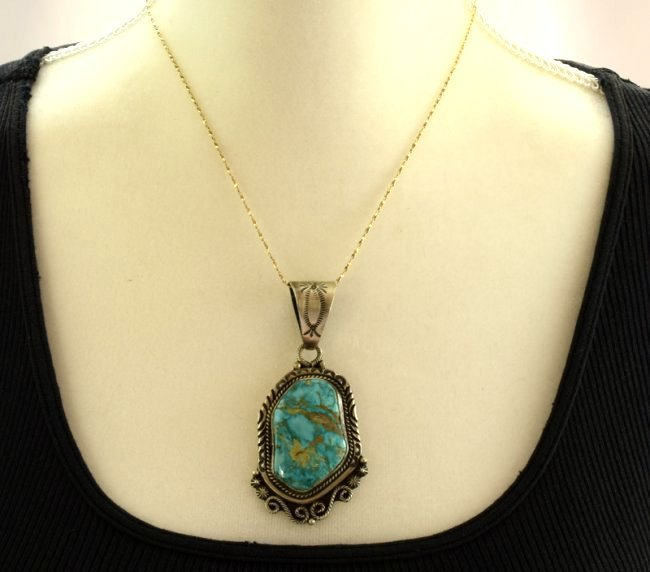 Native American Chunky Sterling Turquoise Pendant - 2