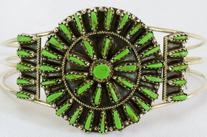 Native American Sterling Gaspeite Cluster Bracelet