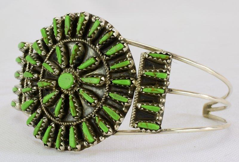 Native American Sterling Gaspeite Cluster Bracelet - 2