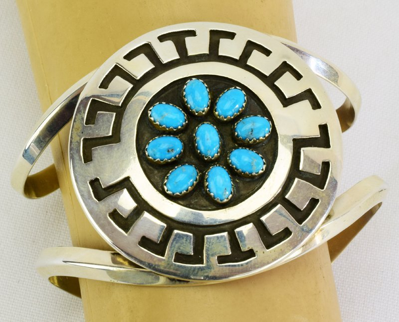 Navajo Sterling Silver Stamped Cuff w/Turquoise