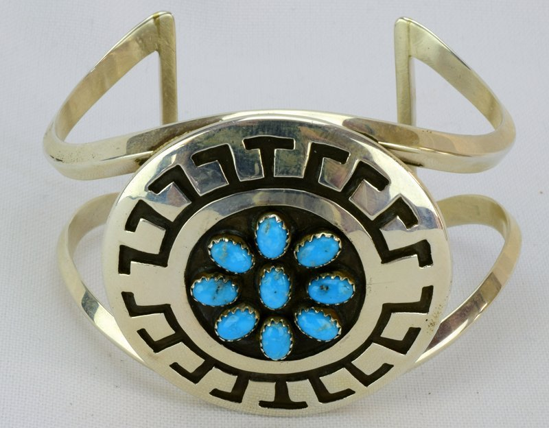 Navajo Sterling Silver Stamped Cuff w/Turquoise - 2