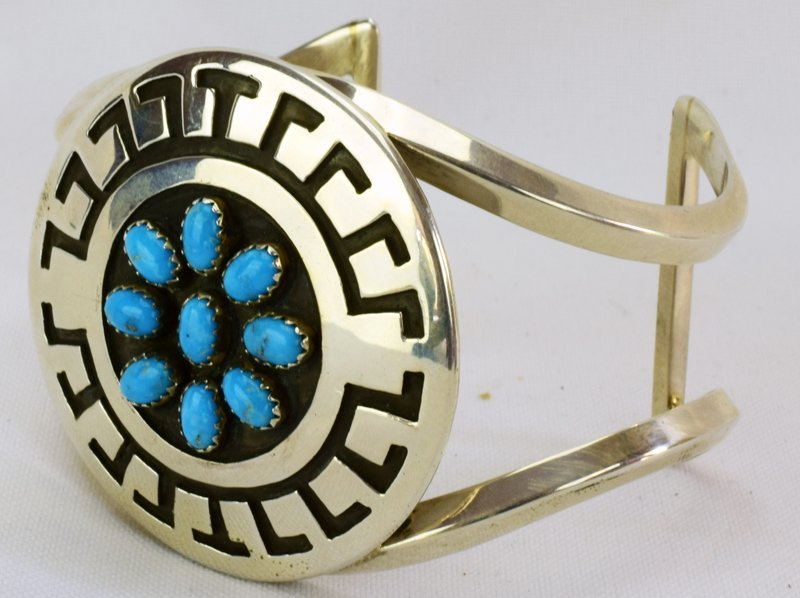 Navajo Sterling Silver Stamped Cuff w/Turquoise - 4