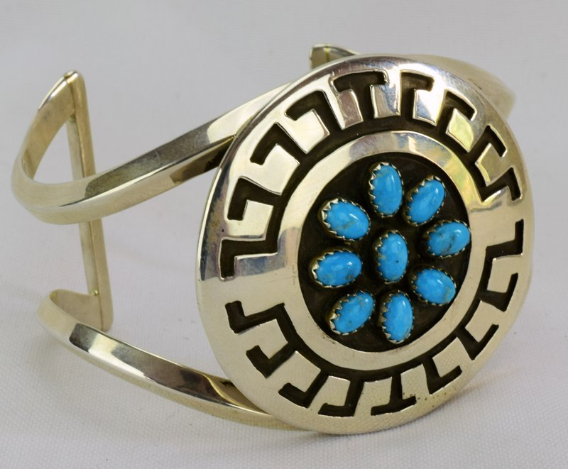 Navajo Sterling Silver Stamped Cuff w/Turquoise - 5