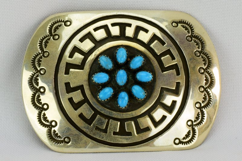 Navajo Sterling Silver Belt Buckle w/Turquoise