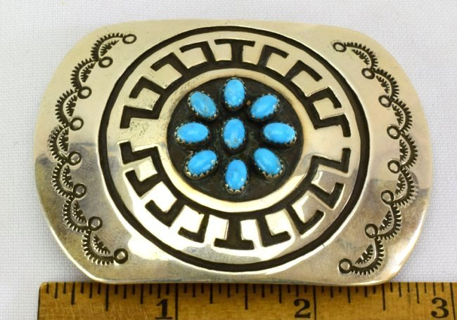 Navajo Sterling Silver Belt Buckle w/Turquoise - 3