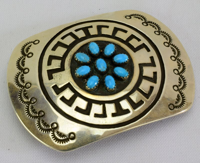 Navajo Sterling Silver Belt Buckle w/Turquoise - 4