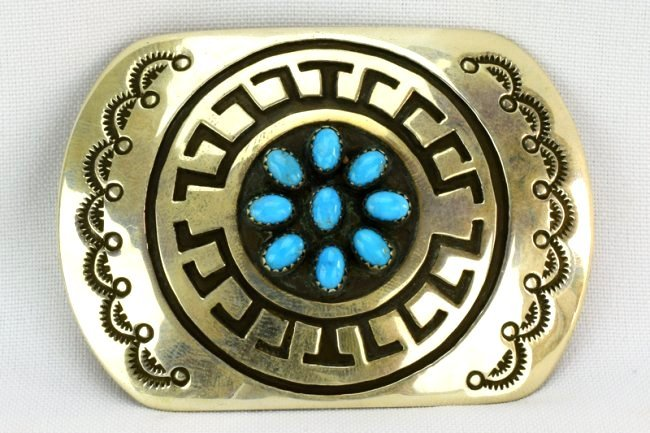 Navajo Sterling Silver Belt Buckle w/Turquoise - 5