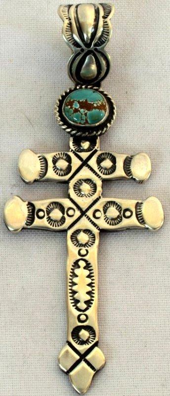 Navajo Sterling Stamped Isleta Cross Pendant w/Turquois