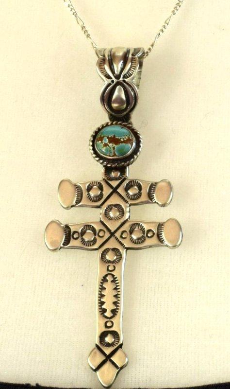 Navajo Sterling Stamped Isleta Cross Pendant w/Turquois - 4