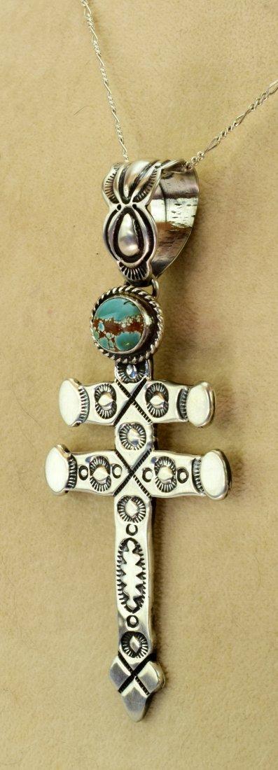 Navajo Sterling Stamped Isleta Cross Pendant w/Turquois - 5