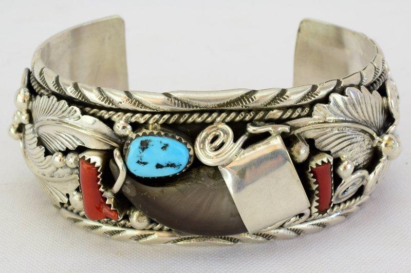 Navajo Old Pawn Sterling Bear Claw Cuff Bracelet