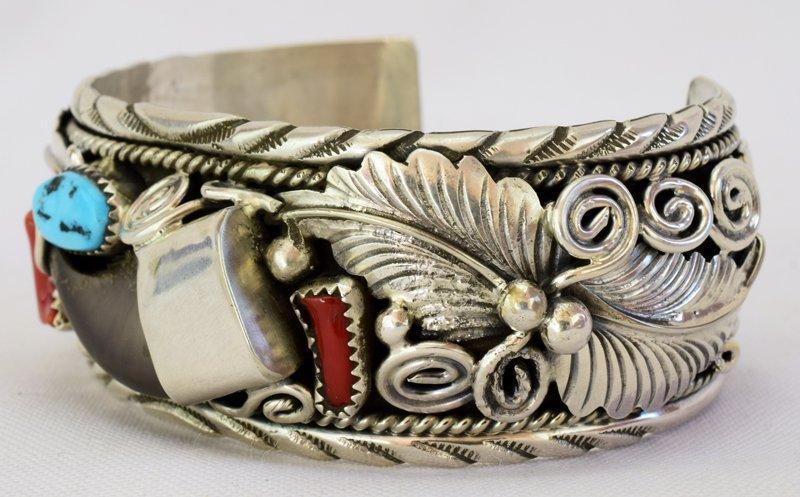 Navajo Old Pawn Sterling Bear Claw Cuff Bracelet - 2