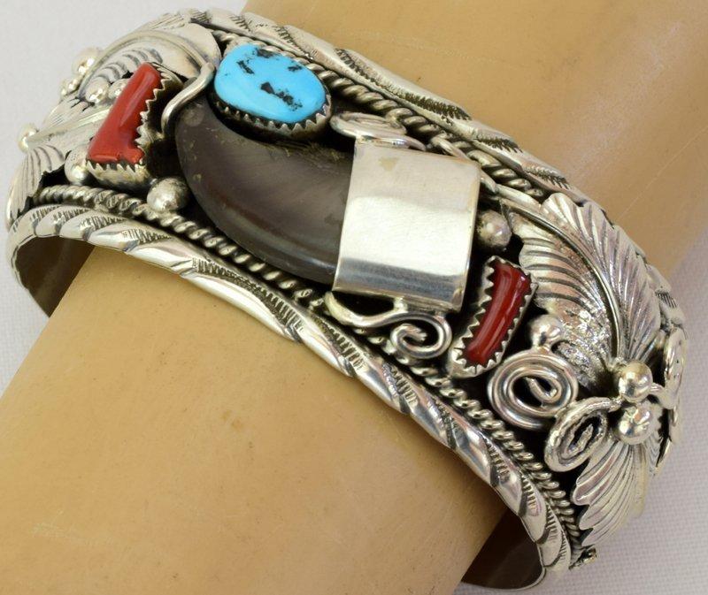 Navajo Old Pawn Sterling Bear Claw Cuff Bracelet - 5