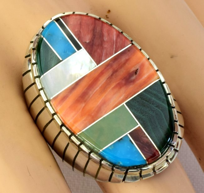 Native American Sterling Silver Multi Stone Inlay Ring