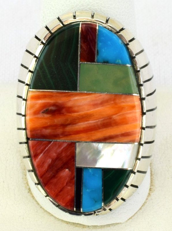 Native American Sterling Silver Multi Stone Inlay Ring - 2