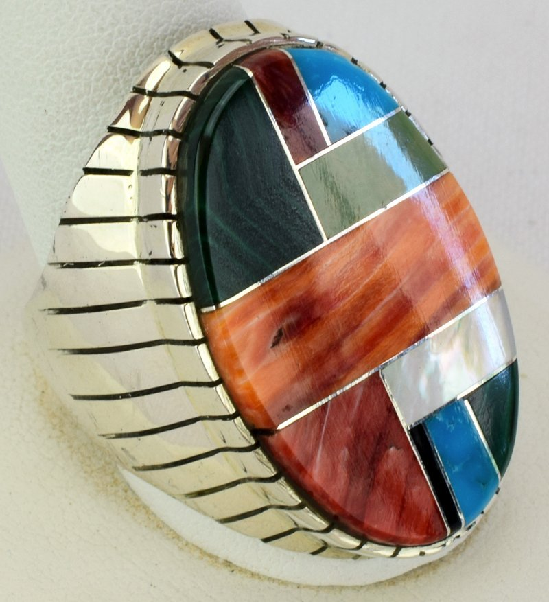 Native American Sterling Silver Multi Stone Inlay Ring - 3