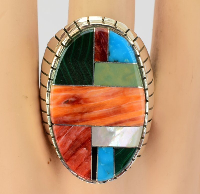 Native American Sterling Silver Multi Stone Inlay Ring - 4