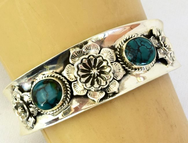 Native American Sterling Turquoise & Cactus Flower Cuff