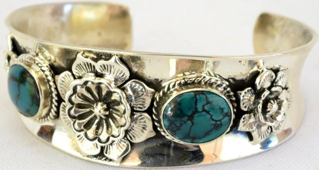 Native American Sterling Turquoise & Cactus Flower Cuff - 2