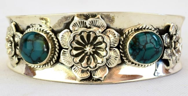 Native American Sterling Turquoise & Cactus Flower Cuff - 3
